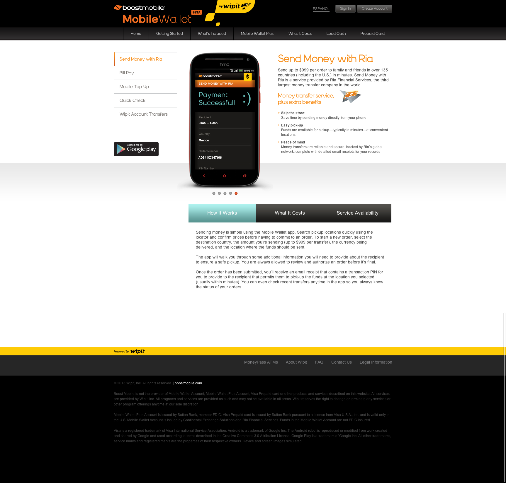 Boost Mobile Wallet Website
